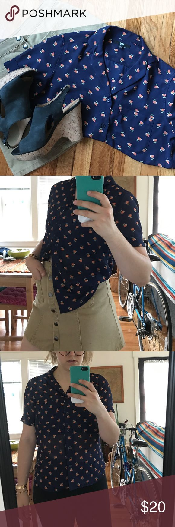 NWOT Button down short sleeve top Semi sheer blouse with fun retro spring floral pattern! This top looks great tucked into skirts or loose over pants. It's nice and light for warmer weather too! Top also has a pocket accent, which adds additional interest. I love the sleeves on this too, they are cuffed and are very flattering. Uniqlo Tops Button Down Shirts