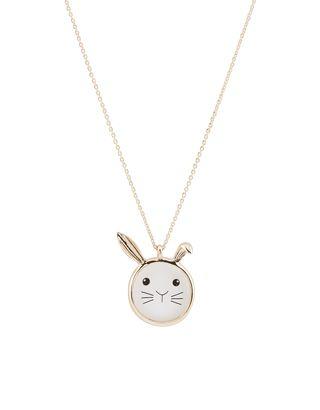 Bunny Face Long Pendant Necklace