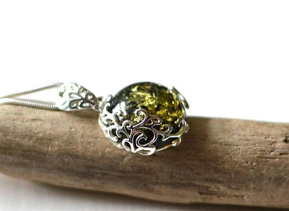 Green Baltic Amber Pendant  Green Gemstone Amber Necklace