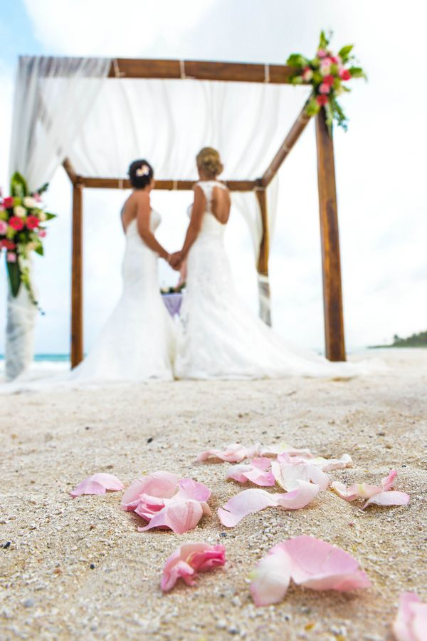Two Brides Sunset Beach Destination Wedding | Mexico | Equally Wed - LGBTQ Weddings
