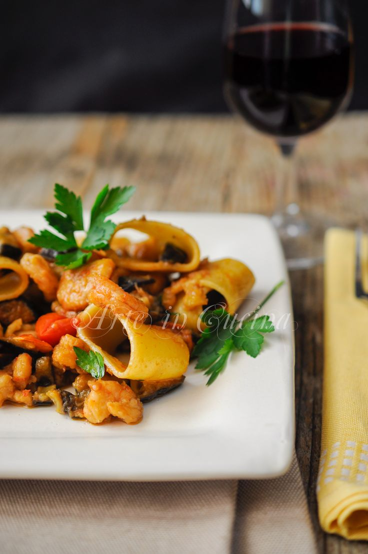 Calamarata con gamberi e melanzane ricetta facile vickyart arte in cucina