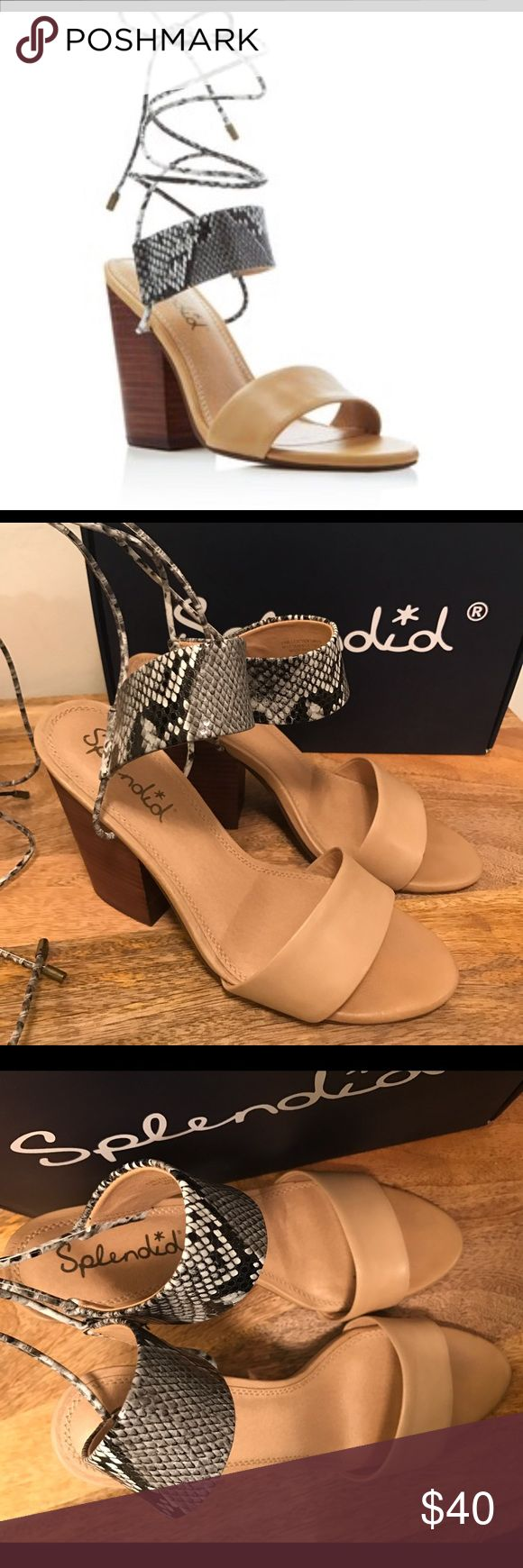 Splendid Ankle Wrap Sandal Splendid Kenya Lace Up High Heel Sandals. Chunky stacked heel with wide snake embossed leather strap, make for a fun summer Sandal! These are in great condition, barely worn. Splendid Shoes Sandals