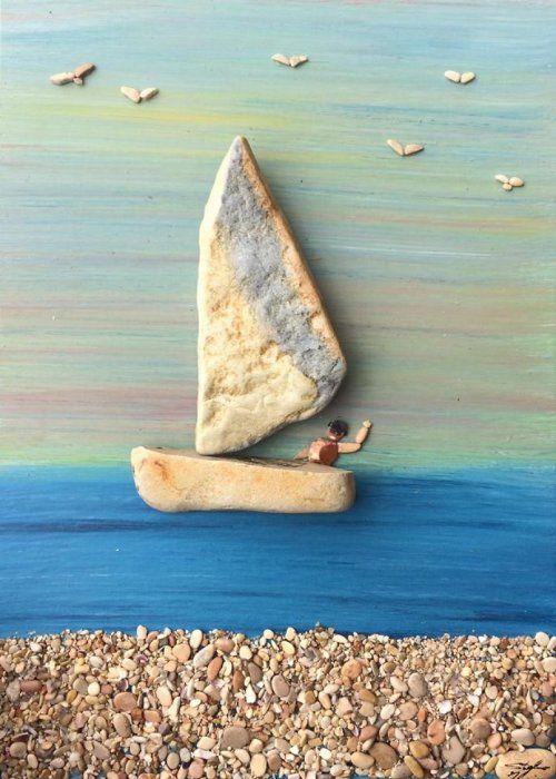 Замечательные картины из камней, найденных на побережье (34 фото)