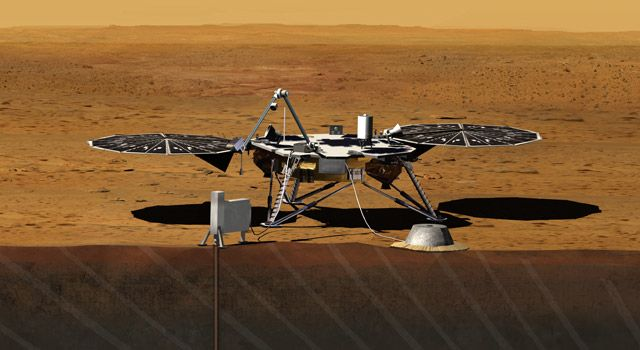 Artist rendition of the proposed InSight (Interior exploration using Seismic Investigations, Geodesy and Heat Transport) Lander.  NASA has selected a new mission, set to launch in 2016, that will take the first look into the deep interior of Mars to see why the Red Planet evolved so differently from Earth as one of our solar system's rocky planets.Spaces, Insight Landers, Nasa, 2016, Red Planets, Mars Mission, Technology News, Insight Interiors, Science