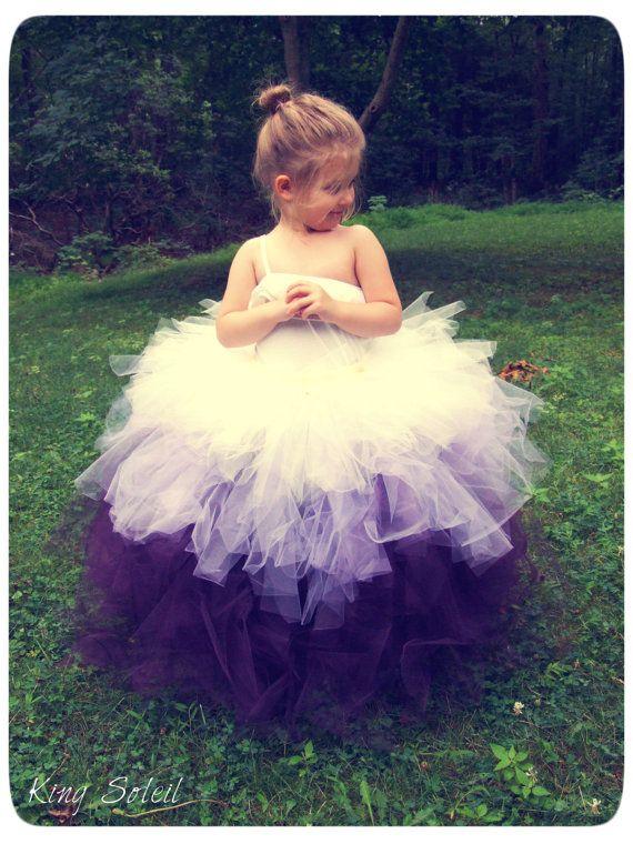 Flower Girl Tutu Skirt Ombre Purple Lavender Ivory Tulle Crochet Band Satin Bow Infant to Toddler Size 4. via Etsy.