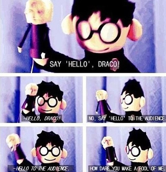 Harry Potter Puppet Pals, *starts singing 'Draco likes fire'*