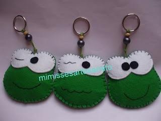 mimisses artesanato: porta chaves sapo feltro