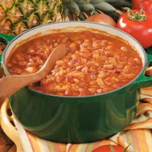 Baked Beans with Pineapple Recipe - this is my favorite homemade baked bean recipe! I make it every year for church and it always disappears!