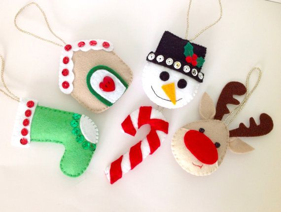 Felt Christmas Decoration Felt Christmas Ornament Felt Snowman Felt Reindeer Felt Stocking Felt candy Cane Gingerbread House - Set of 5.