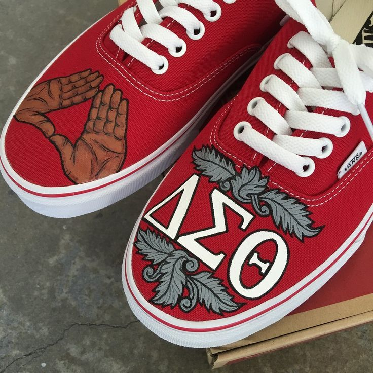 These custom Vans are the Delta Sigma Theta Vans shown in the blog post. https://bstreetshoes.com/blogs/news/106437574-delta-sigma-theta-sorority-custom-hand-painted-vans-oo-oop The shoes here are Red