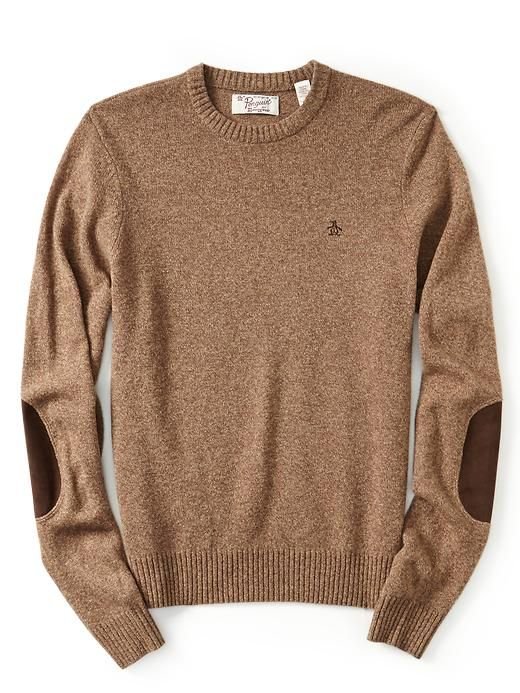 Original Penguin Long Sleeve Crew Neck Sweater with Suede Elbow Patches