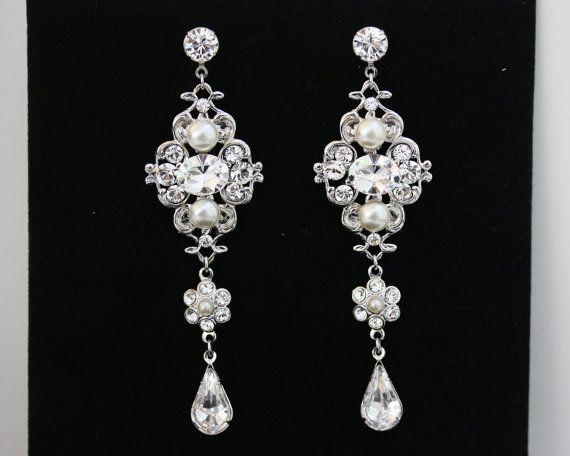Orecchini Chandelier, lungo da sposa orecchini con perle Swarovski avorio e strass, matrimonio Vintage gioielli LEILA Grand