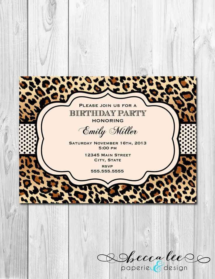 Animal print birthday invitation leopard print by for Leopard print invitations templates