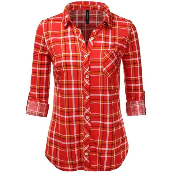 JJ Perfection Womens Long Sleeve Collared Button Down Plaid Flannel... ($14) ❤ liked on Polyvore featuring tops, button down collar shirts, plaid flannel shirt, red button up shirt, red plaid shirt and flannel shirt