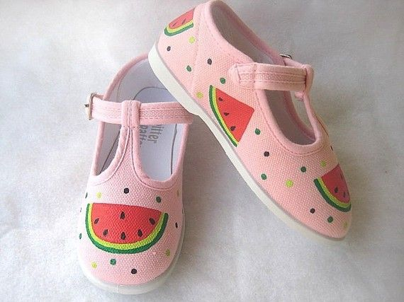 Girls Watermelon Shoes, Baby and Toddler, Pink Canvas, T- Strap or Sneaker, Hand Painted