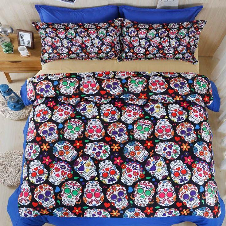 Sugar Skull Colorful Pattern Bedding Set //Price: $83.69 & FREE Shipping //     #skull #skullinspiration #skullobsession #skulls