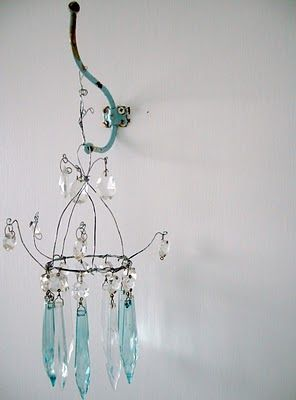 ♕ completely in love with this handmade chandelier with painted prisms