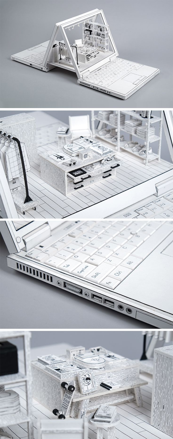 Click for more info/pics! | Cardboard Dioramas of Laptops Depicting Human Relationships with Technology by Kevin LCK #cardboard #paper #art