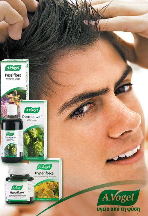 Το άγχος εξαντλεί πολύτιμα θρεπτικά συστατικά,η έλλειψη των οποίων έχει άμεσο αντίκτυπο στην ανάπτυξη μαλλιών. Για την αντιμετώπιση των αιτιών άγχους, η A.Vogel προτείνει τη χρήση βάμματος A.Vogel Passiflora, A.Vogel Dormeasan ή και A.Vogel Hyperiforce για να ωφεληθεί το νευρικό σύστημα.  www.avogel.gr http://www.avogel.gr/product-finder/avogel/dormeasan_tinct.php http://www.avogel.gr/product-finder/avogel/hyperiforce_tabs.php http://www.avogel.gr/product-finder/avogel/passiflora_tinct.php
