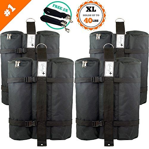 SET of 4 LARGE Canopy Weight Bags - FREE Hurricane Straps - Heavy Duty (Hold ... - Lifestyle+ Canopy Weight Bags work with any portable canopy, folding gazebo, instant canopy, E-Z UP instant shelter, quick-shade tent, or other portable structure. Simply fill the tent weights with your preference of materials (such as sand, dirt, rock, gravel, etc.) and secure them to the base o...