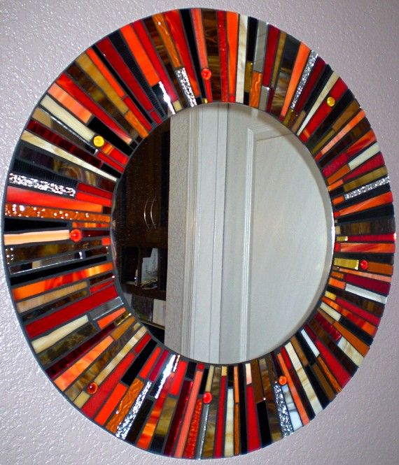 mosaic stained glass round mirror on etsy. great in an entry or hallway.