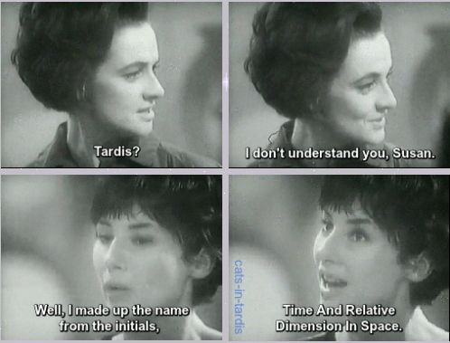 1x01 An Unearthly Child [gifset] - never forget that that Susan came up with the name for TARDIS - Susan Foreman, Barbara Wright, Classic Doctor Who