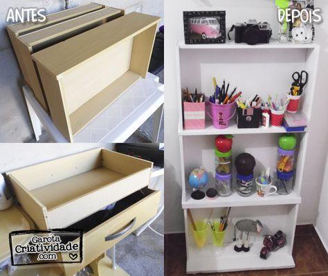 Como fazer prateleira com gavetas: Reciclagem de gavetas