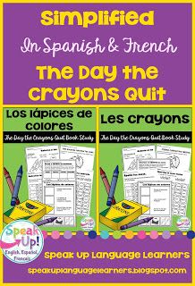 *FREEBIE* Simplified The Day the Crayons Quit, by Daywalt & Jeffers ~Colors Vocabulary in Spanish & French!