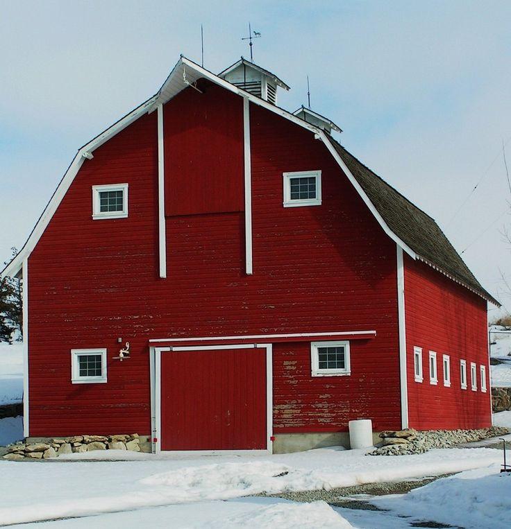 Beautiful red barn in winter.