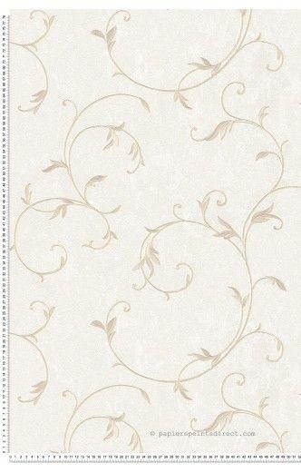 Feuillage classique satiné beige - Papier peint Romantica 3 d'AS Création