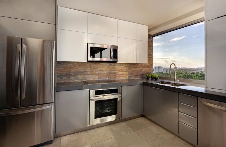 Excellent Small Kitchen Decorating Ideas for Comfortable Room: Engaging Modern Small Apartment Kitchen Horcasitas Ideas With Chrome Scheme Feats Outside View On A Huge Window Spaces ~ workdon.com Kitchen Design Inspiration