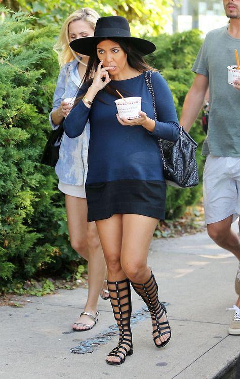 Kourtney Kardashian Wearing Chanel Cc Lambskin Backpack Stuart Weitzman Gladiator Sandal
