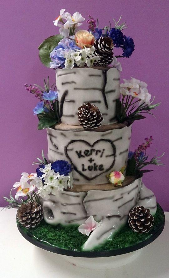 3 Tier Tree Themed Wedding Cake