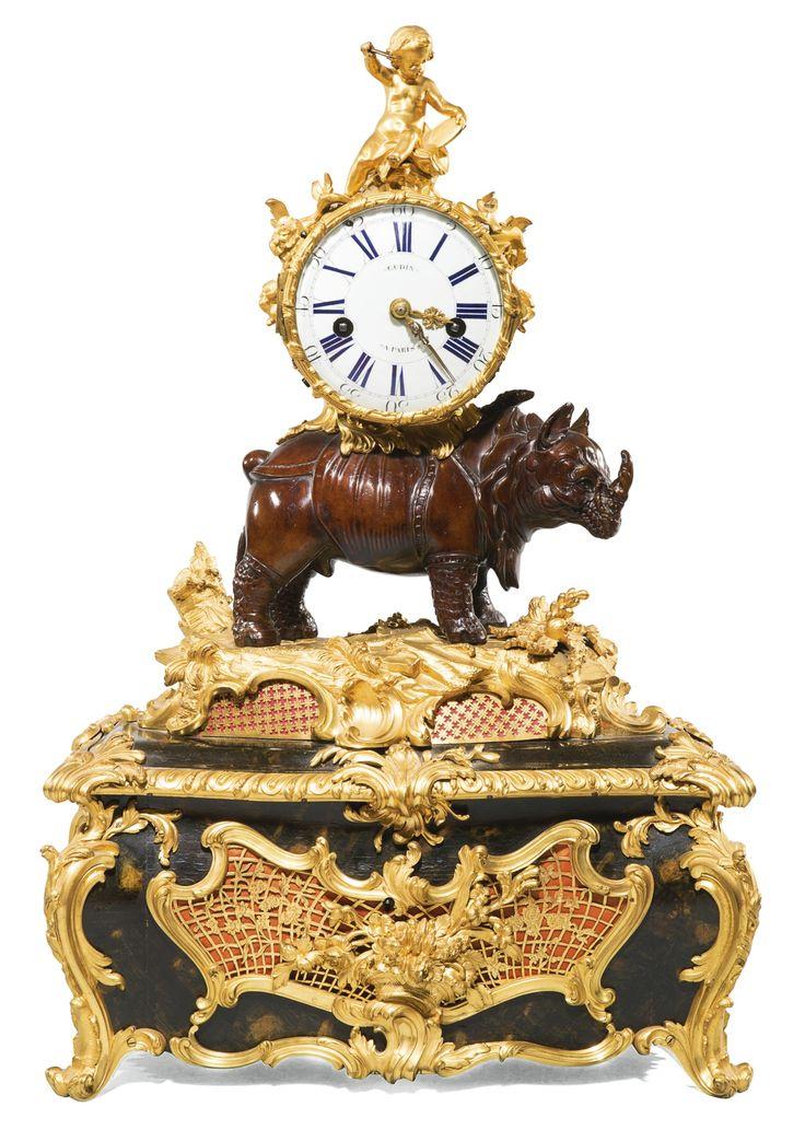 ALouis XVgilt-bronze, bronze and Vernis Martin musical rhinoceros table clock, circa 1748, attributed to Jean-Joseph de Saint-Germain | Lot | Sotheby's