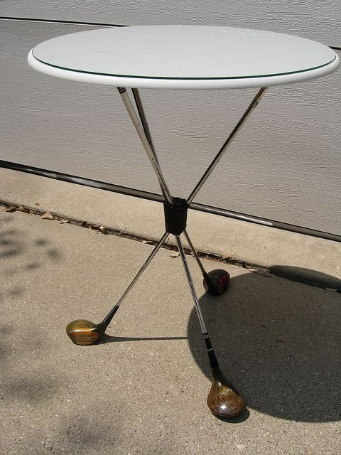 Our Little Shop has the golf clubs to make this unique table!  Love it!