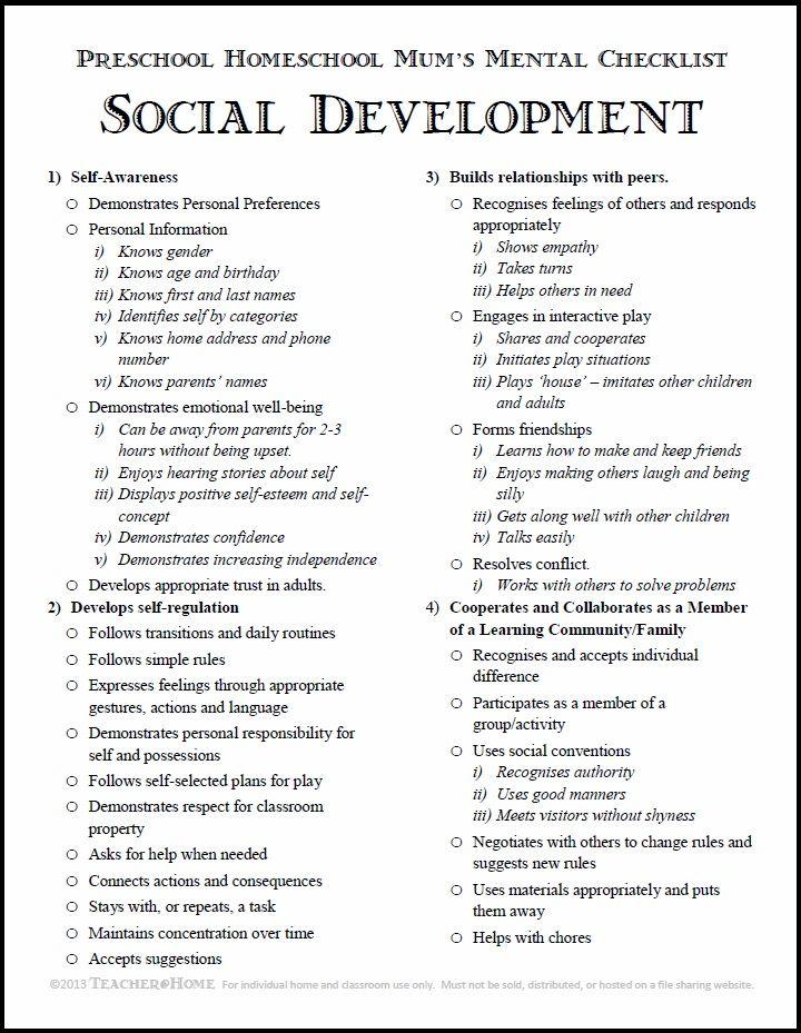 Preschool Homeschool | Social Development Checklist | pdf download | Teacher@Home