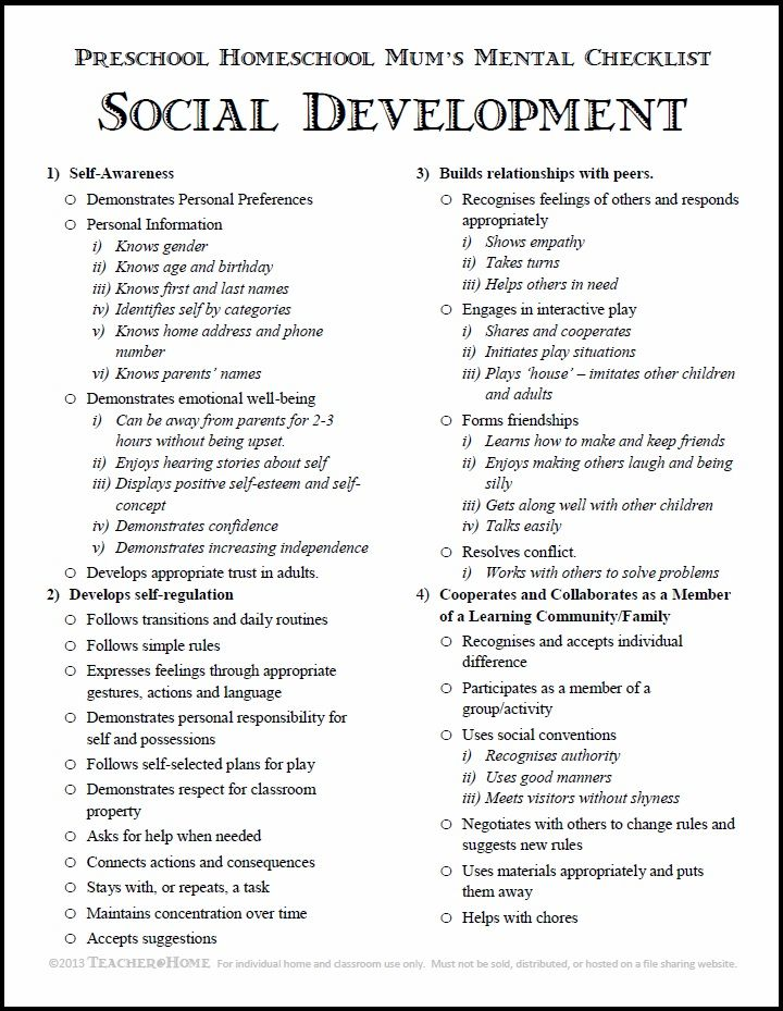 Preschool Homeschool | Social Development Checklist | pdf download | Teacher@Home
