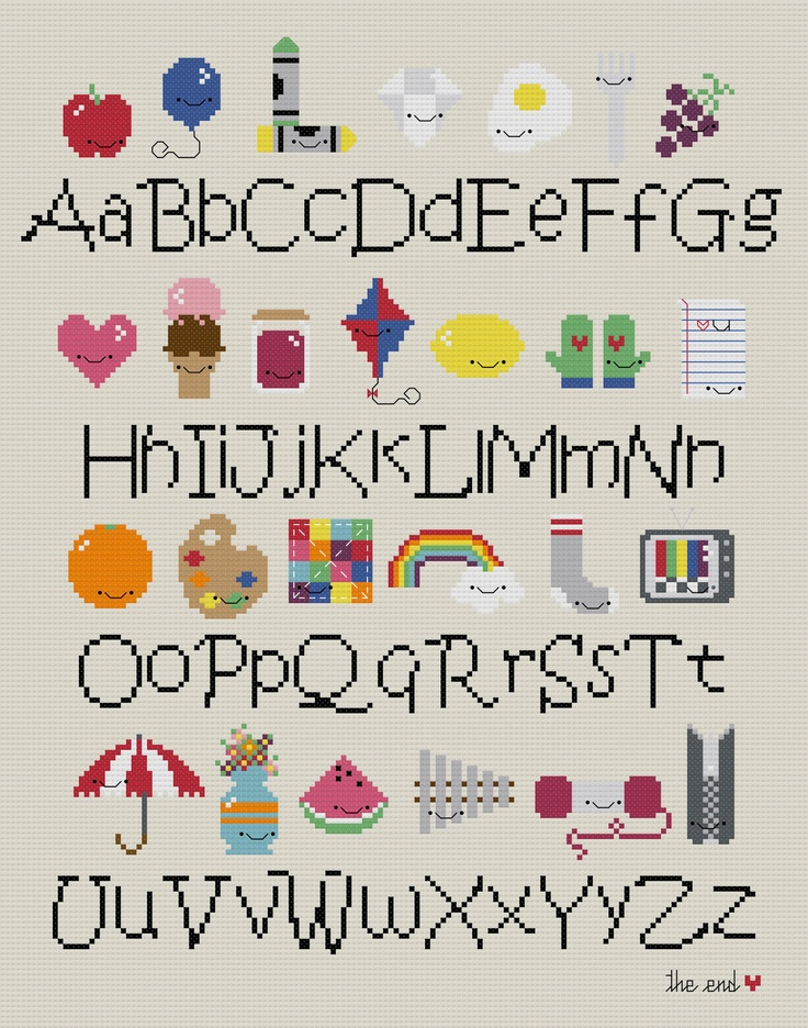 Must drop everything to stitch this: Kawaii Alphabet Sampler Cross-stitch PDF PATTERN from Wee Little Stitches