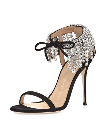 """Giuseppe Zanotti suede sandal with crystal collar. Available in multiple colors. 4.3"""" covered stiletto heel. Thin strap bands open toe. Self-tie ankle strap. Leather lining. Smooth outsole. """"Mistico"""""""