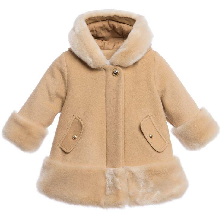 Chloé Girls Beige Cashmere Wool Coat at Childrensalon.com