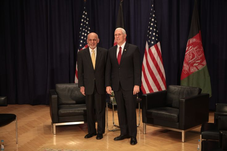 https://flic.kr/p/RDF4Lf | VP Pence with Ashraf Ghani President of Afghanistan prior to their bilateral meeting. | VP Pence with Ashraf Ghani President of Afghanistan prior to their bilateral meeting.