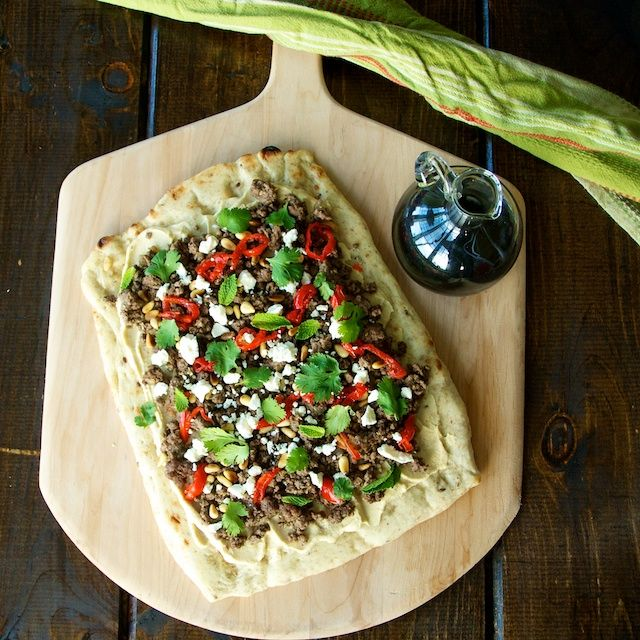 Lamb Flatbreads with Hummus, Herbs and Feta - Oui, Chef