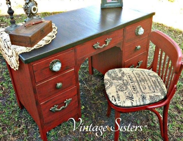 Valspar Signature Posh Red with Paint Minerals - Martha Stewart Black Coffee Glaze - Fabulous Desk Makeover By Vintage Sisters - Featured On...