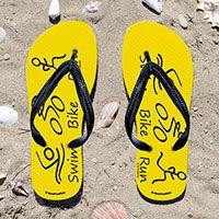 Triathlon Swim Bike Run Stick Figures on Yellow Flip Flops
