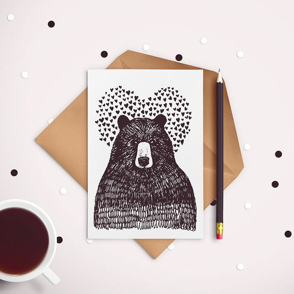 Valentinstag - Bear in love - postcard - ein Designerstück von JaCieBrosze bei DaWanda