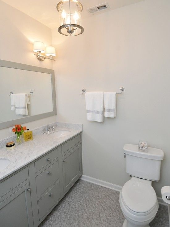 Gray Bathroom With Bathroom Cabinets Painted Benjamin Moore Fieldstone Gray Paired With White