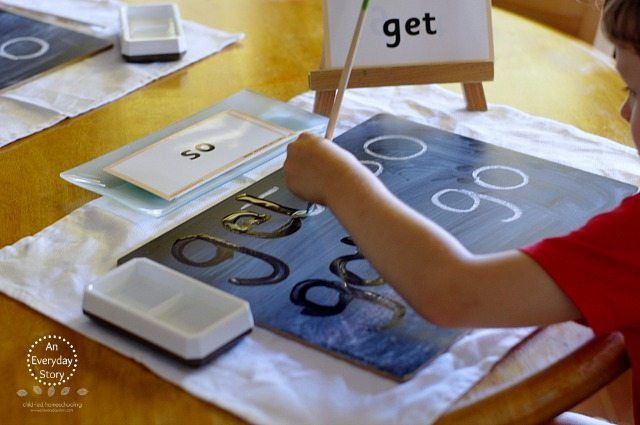 Sight Word Activities - Chalk and Water Painting - An Everyday Story
