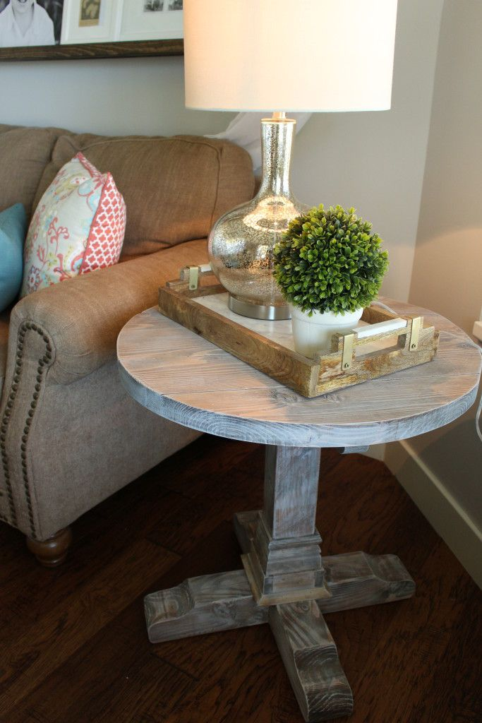 DIY Round side table! Plans from Shanty-2-chic!