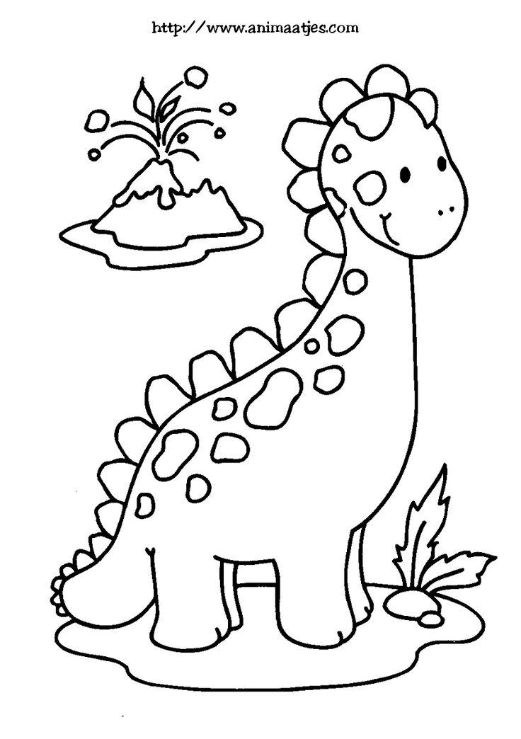 Kleurplaat Dino Pinterest Dinosaurussen
