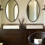 bathrooms - iron oval mirrors green walls modern overmount sinks double sinks espresso bathroom vanity  Green & brown Mediterranean bathroom